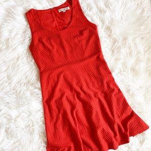 Loft Red Sleeveless Eyelet Lined ZIP Up Dress